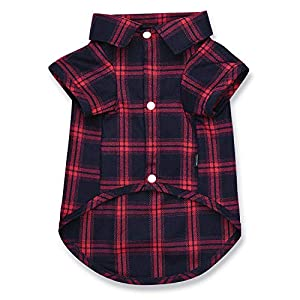 Koneseve Dog Shirt, Pet Plaid Shirts Polo Clothes T-Shirt, Sweater Bottoming Shirt Soft Clothing for Small Dogs Cats Puppy Grid Apparel Adorable Pajamas, Christmas Costumes { Red #1; S/Small }