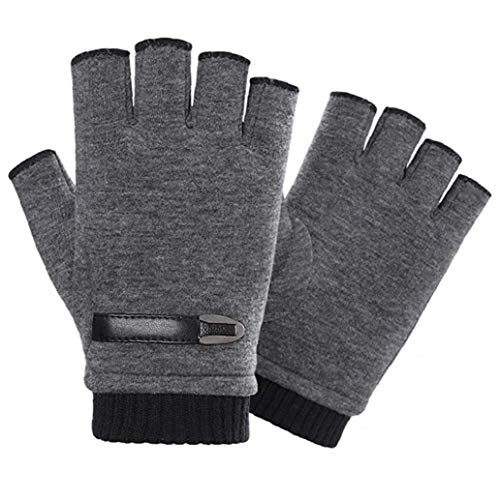 Guantes sin dedos para invierno, cálidos, unisex, color gris, para ciclismo, motocicleta,...