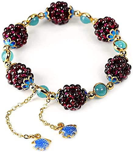Plztou Pulsera de Bola de Flor de Granate Natural de la Vendimia Tianhe Piedra Cloisonne Accesorios Aquamarine Jewelry para Hombres Mujeres