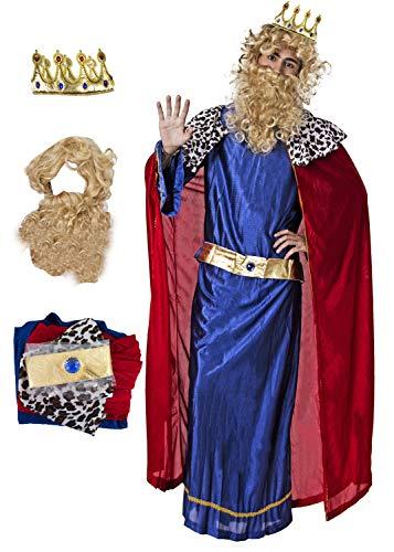 Gojoy shop- Disfraz y Corona de Rey Mago Baltasar, Caspar  Melchor para Hombres Navidad Carnaval (Contiene Corona, Conjunto Peluca y Barba, Tnica, Capa y Cinturn, 4 Tallas Diferentes) (Caspar)