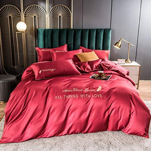 funda de edredón cama 90,Xia Siki Down traje 4 sets, cama europea sedosa para la piel camas individuales para la piel, usado en la habitación de los niños regalo de la habitación-mi_Cama de 2.0m (4 p