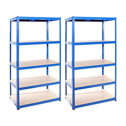 Garage Shelving Units: 180cm x 90cm x 60cm   Heavy Duty Racking Shelves for Storage - 2 Bay Extra Deep, Blue 5 Tier (175KG Per Shelf), 875KG Capacity   For Workshop, Shed, Office   5 Year Warranty…