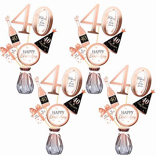 Qpout Oro Rosa 40 cumpleaños Mesa Toppers-Palitos de Centro de Mesa de 30 cumpleaños- Hombres / Mujeres 40 Decoraciones para Fiestas de cumpleaños Accesorios Suministros de Mesa