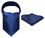 HISDERN Herren Check Polka Dot Floral Gestreiften Jacquard gewebt Ascot Set Navy blau