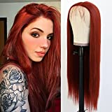 Jolitime Hair Copper Red Lace Front Wig Long Straight Ginger Synthetic Wig Silky Heat Resistant Glueless Reddish Brown Auburn Color Half Hand Tied Synthetic Lace Wigs Orange Red Natural Hairline Wig for Women