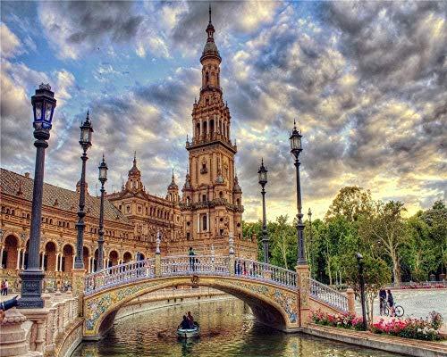 RHUARompecabezas para adultos Rompecabezas de madera de 1000 piezas Sevilla España River Bridge Muy buen juego educativo