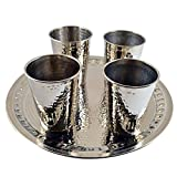 4 X CopperBull Thickest Heaviest Hammered 1 mm Copper Tumbler Cup Mug Set with TRAY for Water Moscow Mule Ayurvedic Healing,14 Oz (Silver)