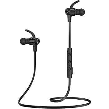 Bluetooth Headphones, TaoTronics Bluetooth 5.0 Wireless Earbuds Sports Earphones 9 Hours Playtime with IPX6 Waterproof, aptX Stereo, CVC 6.0 Noise Cancelling Mic, Black