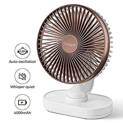 OCOOPA Desk Fan, Auto Oscillating 6.5 Inch Quiet Battery Fan, 4 Speeds Strong Table top Silent Cooling, 4000 mAh Usb Rechargeable Battery Operated for Home, Bed, Office, Brown