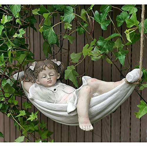 zenggp Verspielter Junge Mädchen Baum Schaukel Fee Ornament Figur Garten Rasen Skulptur Dekor,Girl