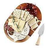 Hecef Juego de tablas de queso ovaladas de madera de acacia con mármol blanco y cuchillo para queso, bandeja para servir queso y queso, para queso, tartas, aperitivos