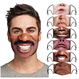 Lialbert 6 Stück Mundschutz Multifunktionstuch 3D Lustig Bandana Maske Waschbar Wiederverwendbar Stoffmaske Mundbedeckung Atmungsaktiv Mund-Nasenschutz Mund Nasen Motiv Halstuch Schals Herren Damen