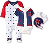 BON BEBE Baby Boys' 3 Piece Take Me Home Set with Coverall Bodysuit and Bib, Handsome Navy Quarterback, 0-3 Months