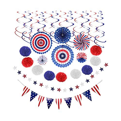 Milageto Decoraciones del Partido Patriótico del 4 de Julio, Rojo Blanco Azul Que cuelga los remolinos decoración del hogar, Bandera Americana/Estrellas EE.