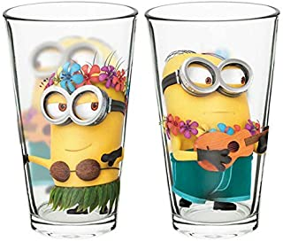 Zak Designs DESN-B080 Minions Pint Glass Tumblers 16 oz. capacity, Set of 2 by Zak Deisgns, 16oz 2 Piece, Despicable Me