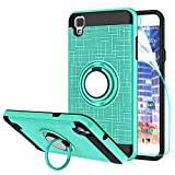 StarLodes Compatible for LG Tribute HD Phone Case,X Style Case,[HD Screen Protector] Heavy Duty Shockproof Protective Cover with Rotatable Ring Kickstand Fit Magnetic Car Mount-Mint Green