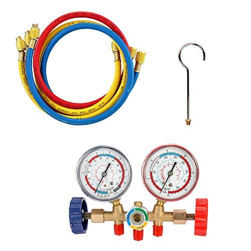 Vislone Manometros Aire Acondicionado Conjunto de herramientas de aire acondicionado con manguera y gancho para R12 R22 R404A R134A