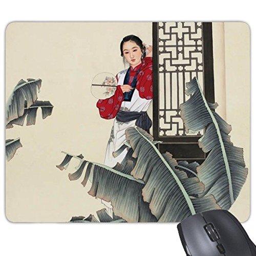 Banaan bladeren houden ventilator leun op deur wit rood klassieke kleding schoonheid chinese schilderij rechthoek antislip rubber muismat spel muismat cadeau
