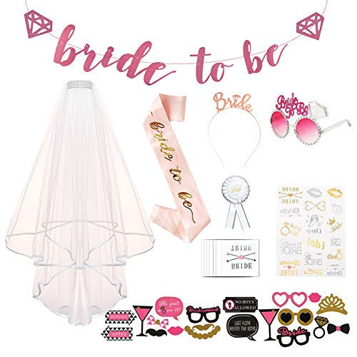 AOTWAN JGA Deko Accessoires JGA Schärpe Braut Schleier Bride to be Badge Bride to be Banner Braut Tiara Team Braut Braut Dusche für Junggesellinnenabschiede