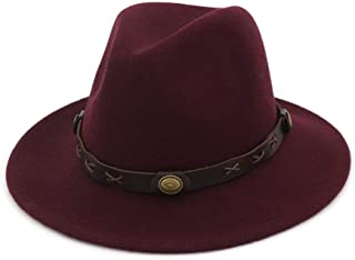 XinLin Du Women Men Fedora Hat Wool Trilby Hat Winter Autumn Wide Brim Church Party Hat Size 56-58CM