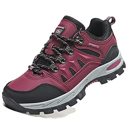 [WikPoo] ハイキングシューズ メンズ 防滑 アウトドア キャンプ シュー ズ 防水軽量 耐磨耗 登山靴 メンズ レディース 通気性 トレイルランニングシューズ ローズレッド 23.0cm