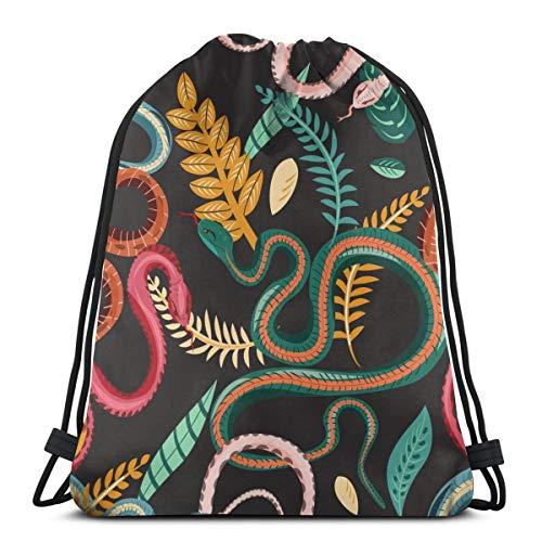 Schlangen und Pflanzen Drawstring Bag Rucksack Gym Dance Bag Rucksack für Wandern Strand Reisetaschen 17×14 Zoll
