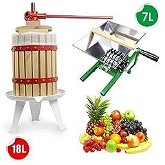 SQUEEZE master 7L Fruit Mill Grape Mill Apple Press & 18L Fruit Mill Fruit Press Wine Press Mekanisk med pressduk