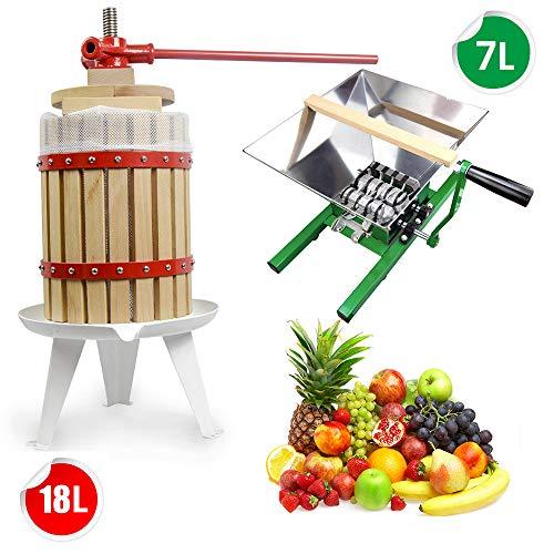 SQUEEZE master 7L Obstmühle Traubenmühle Apfelpresse & 18L Obstmühle Obstpresse Weinpresse Saftpresse Mechanisch mit Pressentuch