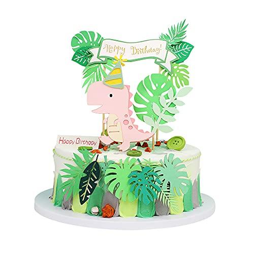 4 Stück Dinosaurier Alles Gute zum Geburtstag Cake Topper Wald Grünes Blattr Cake Topper Rosa Glitter Dino Dschungel Kuchen Pick Babyparty Kinder Geburtstagsfeier Kuchen Dekorationen Zubehör