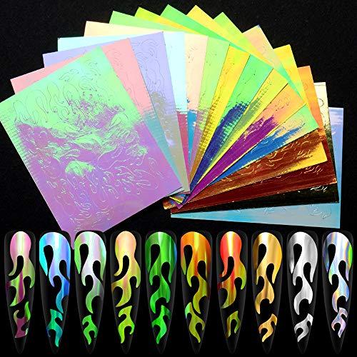 32 PCS Nail Art Aufkleber Feuer Flamme Aufkleber Aufkleber Flamme Reflexionen Nagel Aufkleber Multicolor Aurora Flamme Applique DIY Maniküre Aufkleber (32 PCS)