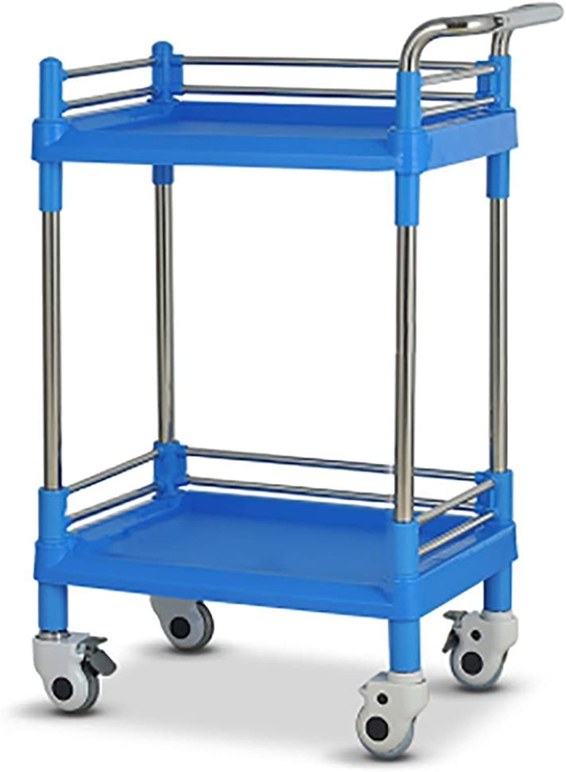 Durable ABS Beauty Work Home Cart with Caster & Brake,Work Home Cart Tool 2 Tier Mobile Rolling Trolley with Portable Handle (color   S54×37×90cm)