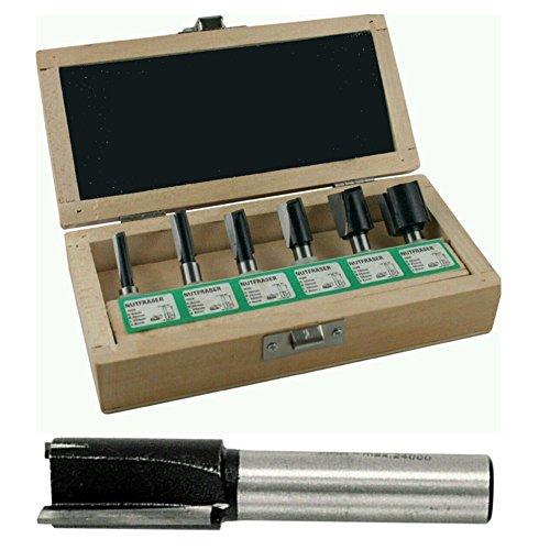 Nutfräsersatz HM 6tlg. Schaft 8mm, 2 Schneiden inklusive Holzkasten, 5480600