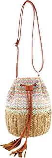 chinatera Crossbody Bags for Women Vintage Straw Weaving Shoulder Messenger Handbags