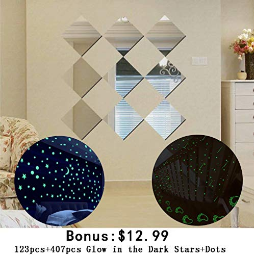 Alrens 16 x 16cm 9pcs Squares DIY Wall Stickers Silver Mirror Wall Stickers Living Room Bedroom Bathroom Decor Mural Decal + 530pcs Removable Glow in The Dark Stars Stickers
