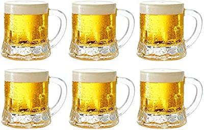 Circleware Roadhouse Heavy Base Whiskey Shot Glasses with Handle, Set of 6, Fun Party Beer Mug Shape Entertainment Beverage Drinking Glassware for Bar Liquor Decor, Jello Cups, 1.7 oz, Clear