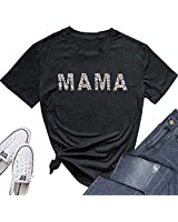 TOWNOWN Mama Shirt for Women Short Sleeve Leopard Mama Graphic Tops Tee Mom Life T Shirt (Black, L)