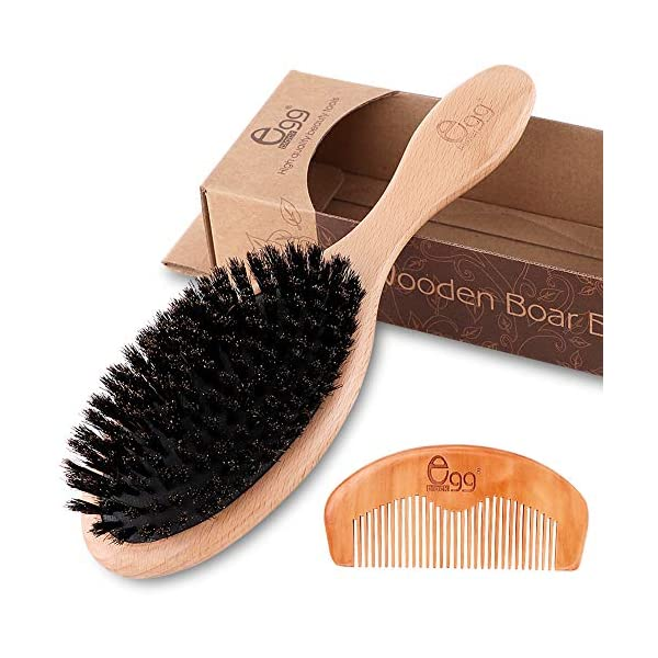 [category] BLACK EGG Boar Bristle Hair Brush with Wooden Paddle for Thin