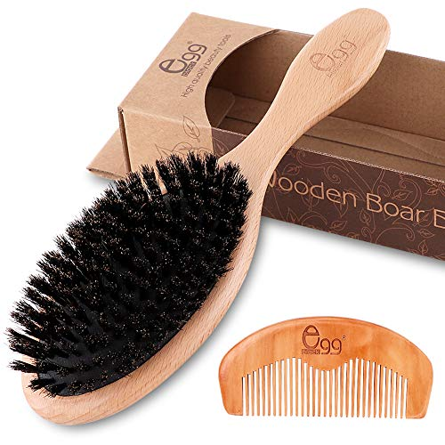 BLACK EGG Boar Bristle Hair Brush with Wooden Paddle for Thin and Normal Hair Adds Shine and Improves Hair Texture for Women Men Children with Hair Comb & 3 Hair Ties (Random Color)