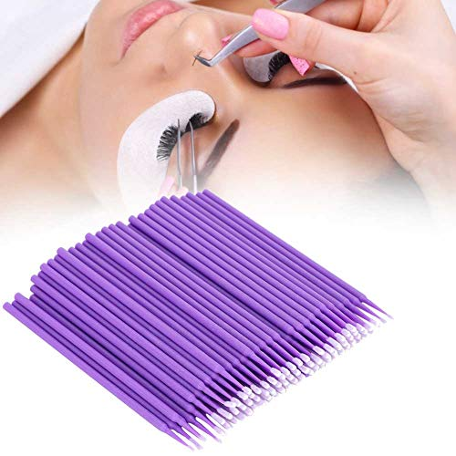 Micro brosses jetables, mascara 200pcs Faux Cils Remover Extension de cils jetables Micro Brush Applicators, pour la transplantation d'extensions de cils(Violet)