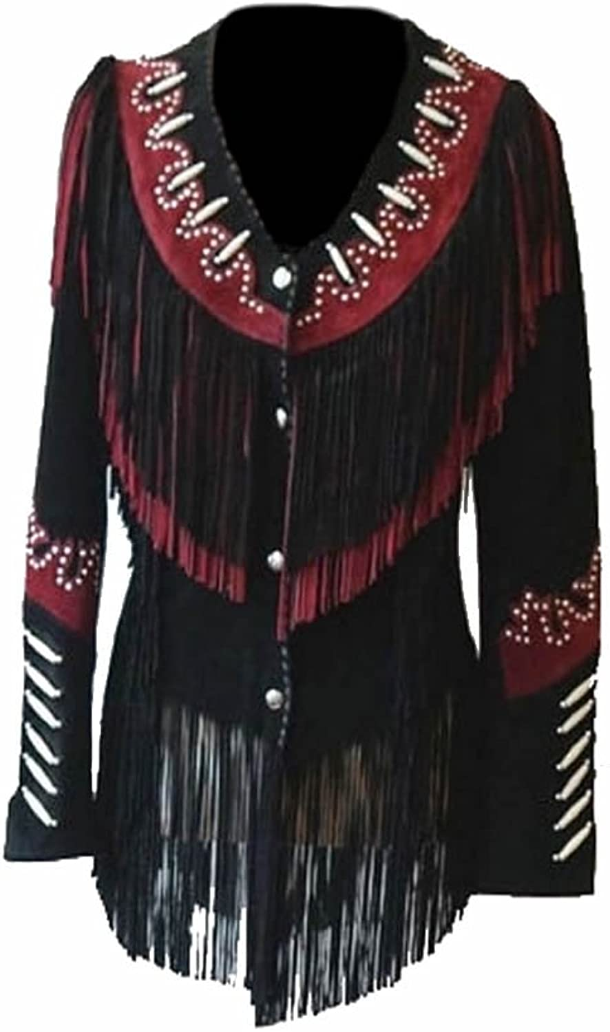 Classyak Women's Western Cowgirl Leather Jacket with Fringes, Beads & Bones