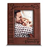 Bella Busta- 3 Years of Marriage-3 years Down Forever to go-Engraved Leather Picture Frame (5 x 7 Vertical (Rawhide))