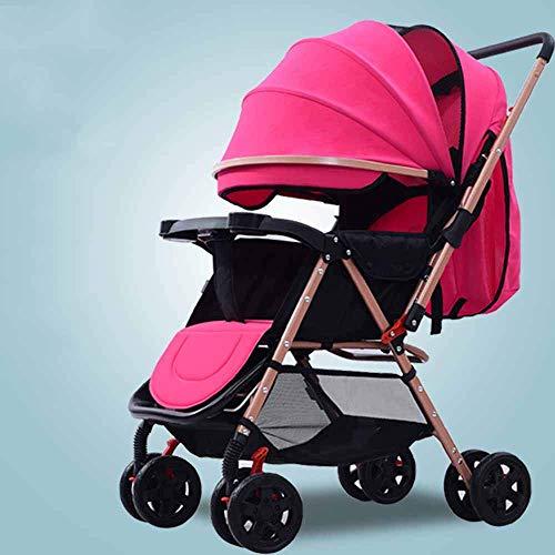 PIVFEDQX El Cochecito se Puede sentar y Plegar, portátil, Ligero y Plegable, con Paraguas de Dos vías para bebé, Cochecito para niños recién Nacidos, Seguro y cómodo de Llevar