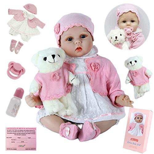 ZIYIUI Realista 22 Pulgadas 55 cm Reborn Baby Doll Recién Nacido Suave Silicona Vinilo Realista Reborn Baby Girl Hecho a Mano Cumpleaños para Niños