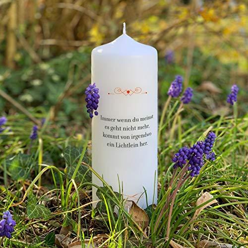 Kerze der Hoffnung, Immer, wenn Du denkst - Design Hoffnungslicht als Mutmacher Licht Geschenk, Hoffnungskerze, 58h Lange Brenndauer, RAL-Gütezeichen, 22 cm groß