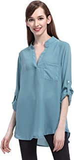 20d5c2e29 Blusas de Vestir Manga Larga Cuello EN V Blusa Gasa Fiesta Camisas Mujer  Camisetas Largas Elegantes