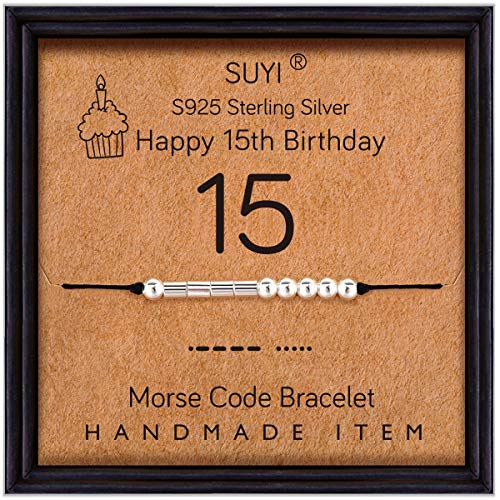Suyi 15th Birthday Gifts for Girls Morse Code Bracelet Sterling Silver...