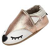 Zapatos de Bebé Suave Cómodo Zapatos de Piel para Bebé Niño Ligero Flexible Pantuflas para Interiores Al Aire Libre Primeros Caminantes, Zorro Dorado 6-12 Meses