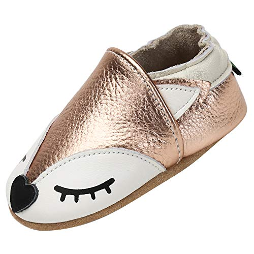 Zapatos de Bebé Suave Cómodo Zapatos de Piel para Bebé Niño Ligero Flexible Pantuflas para Interiores Al Aire Libre Primeros Caminantes, Zorro Dorado 0-6 Meses