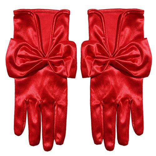 FSXZM Kurze Satin Ellenbogen Handschuhe Braut Hochzeit Prom Opera Handschuhe Kostüm Handschuhe Bankett Kleid Handschuh für Frauen,rot