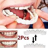 Anzkzo 2 Pcs Temporal superior e inferior Blanqueamiento de la Dentadura Confort Ajuste Flex Perfecto Sonrisa Diente cosmético Blanqueamiento Teeth Fundas Dientes- A